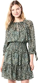 Rebecca Taylor Long Sleeve Animal Print Tie Dress with cinched waistline