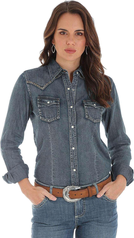 Wrangler Womens Long Sleeve Western Fashion Snap Shirt Blouse