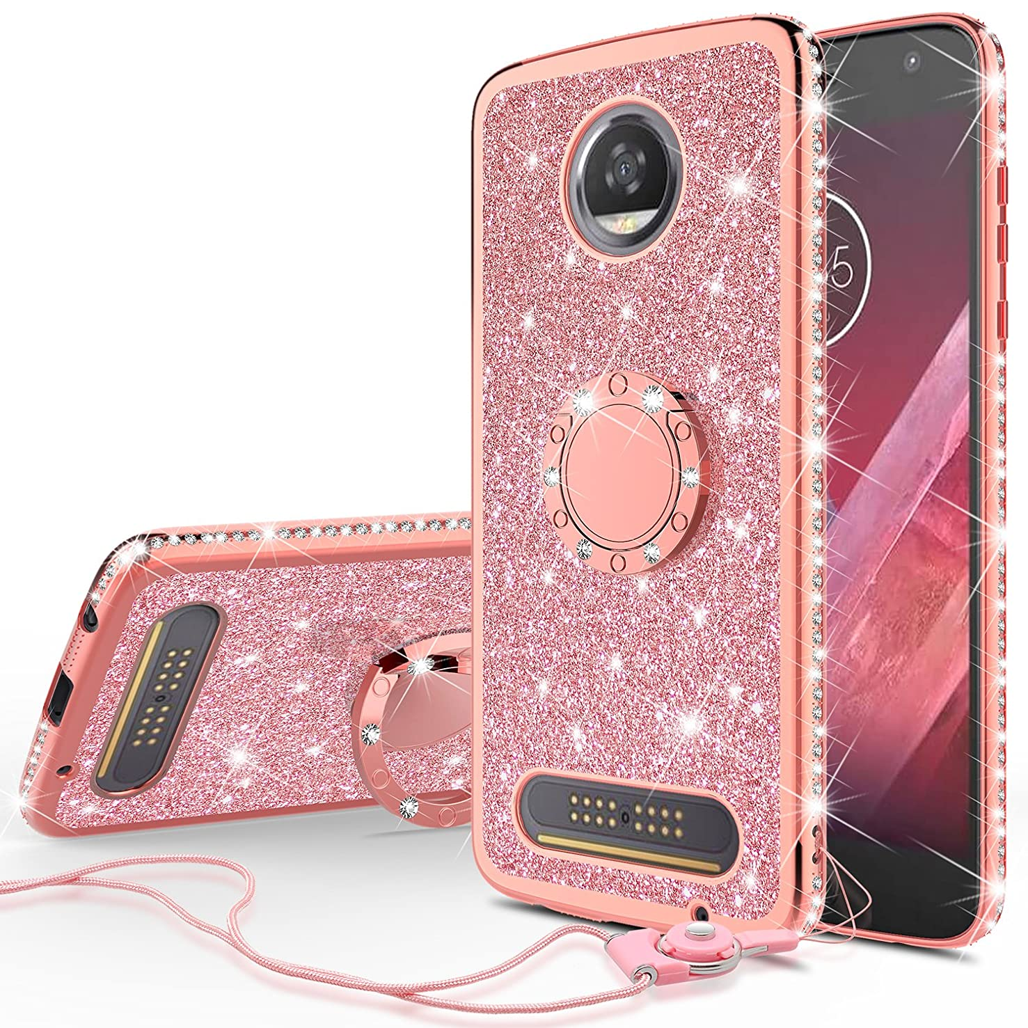 [GW USA] Glitter Cute Phone Case with Kickstand Compatible for Moto Z2 Play Case, Bling Diamond Rhinestone Bumper Ring Stand Sparkly Clear Thin Soft Protective for Girls Women - Rose Gold (Rose Gold)