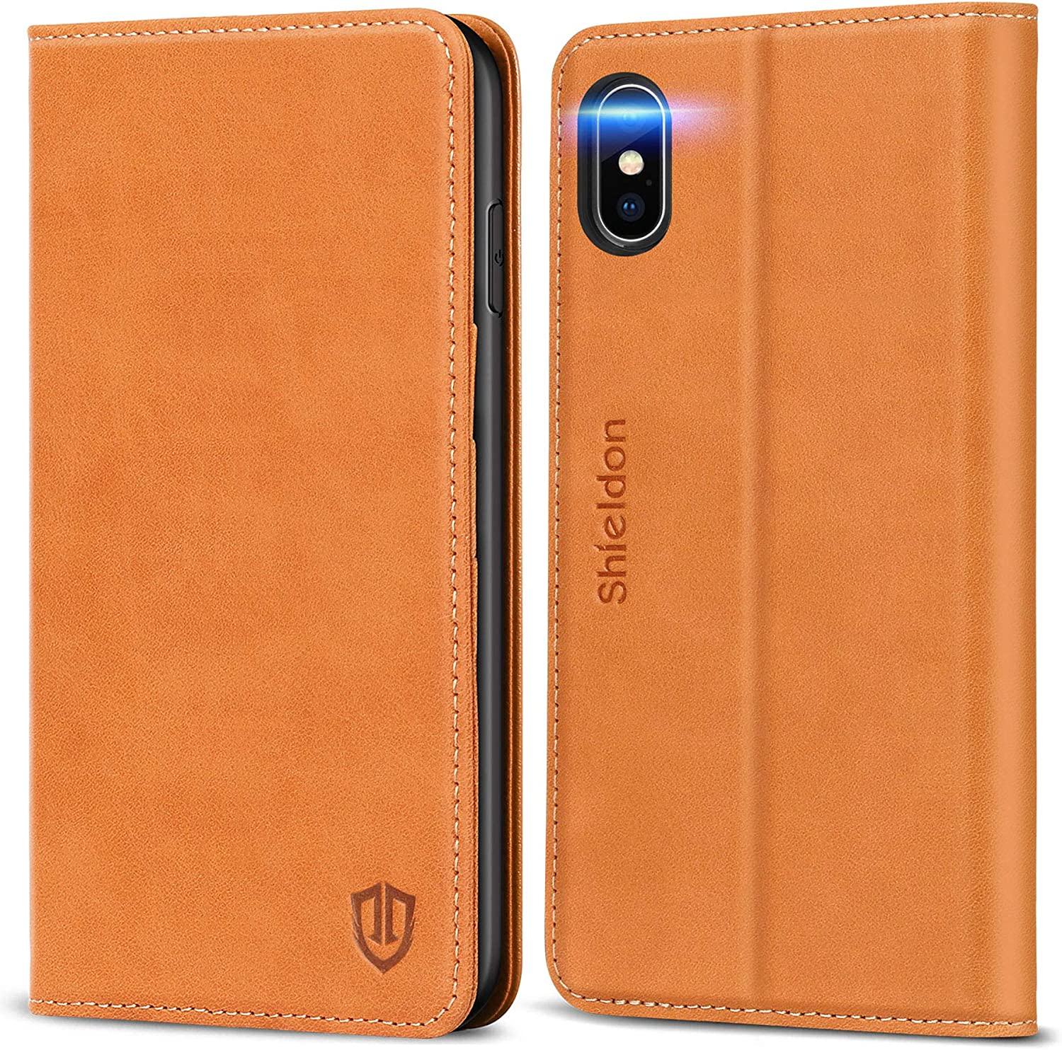 SHIELDON iPhone Xs Max Case, Genuine Leather iPhone Xs Max Wallet Case Support Auto Wake/Sleep RFID Protective Card Holder Folio Magnetic Stand Cover Compatible with iPhone Xs Max (6.5