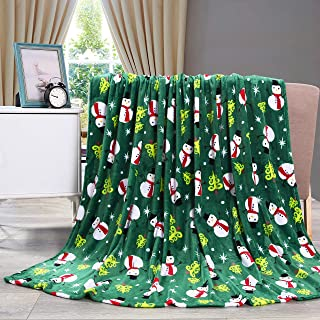 Valerian Luxury Velvet Touch Ultra Plush Christmas Blanket  Soft, Warm, Cozy Holiday Printed Fleece Throw/Blanket-50 x 60inch, 50 x 60, Green Snowman