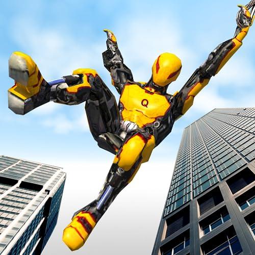 Flying Robot Hero vs Crime City Aliens:Rescue Game