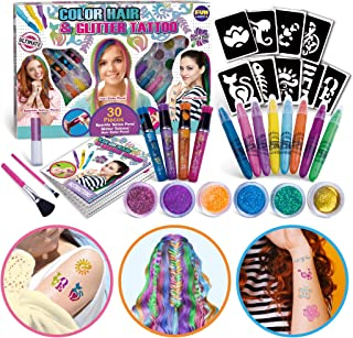 Super Kids Makeup Kit for Girl, FunKidz Temporary Hair Coloring Glitter Tattoo Combo Kit 3-IN-1 Girls Makeup Kit for Party...