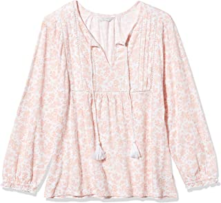 Lucky Brand womens Long Sleeve V Neck Printed Peasant Top Shirt