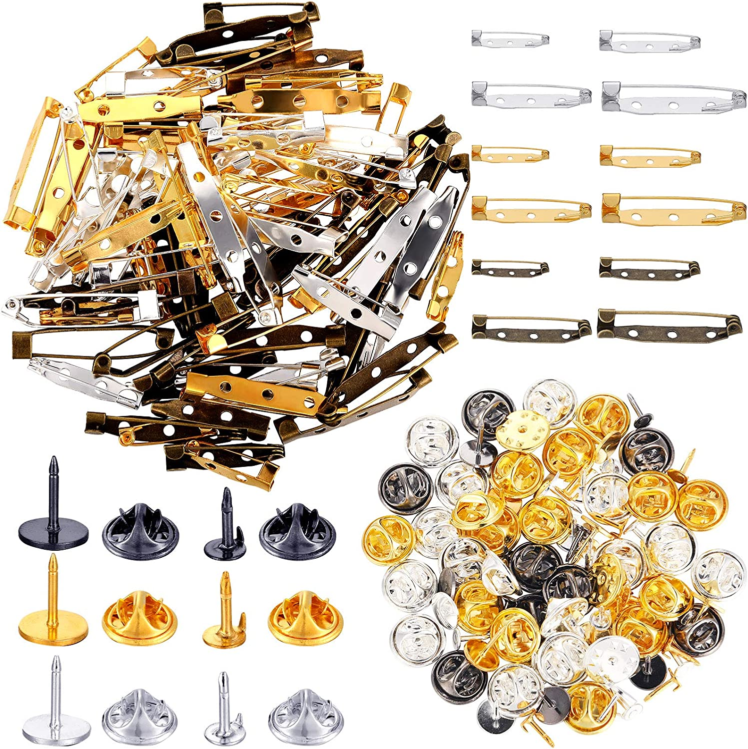 200 Pieces Brooch Excellent Bar Dallas Mall Pins Clutch Set Butterfly Blank