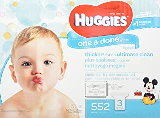 HUGGIES One & Done Scented Baby Wipes, Hypoallergenic, 3 Refill Packs, 552 Count Total