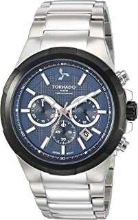 Tornado Men's Blue Dial Stainless Steel Band Watch - T8102-SBSLB