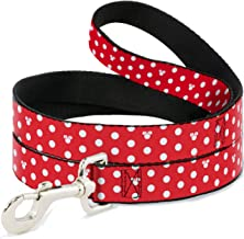 """Buckle-Down Wide 1.5""""""""Minnie Mouse Polka Dot/Mini Silhouette Red/White"""" Dog Leash, 4'"""