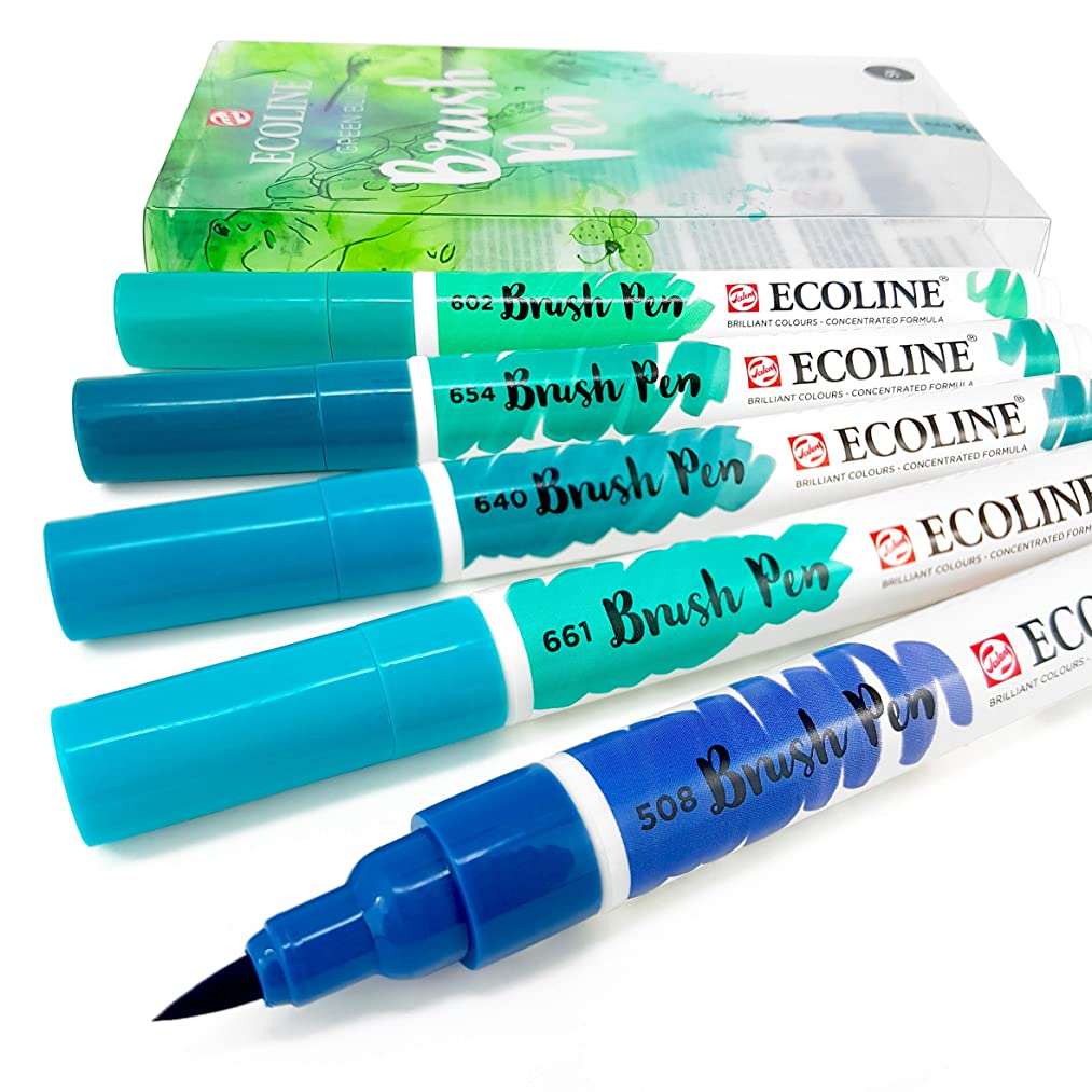 Royal Talens - Ecoline Liquid Watercolour Drawing Painting Brush Pens - Set of 5 in Plastic Wallet - Green Blue