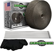 "Duramake 2"" X 50' Titanium Exhaust Header Heat Shield Wrap Motorcycle Pipe Insulation Roll With Stainless Steel Zip Ties"