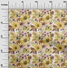 oneOone Velvet Yellow Fabric Leaves & Watercolor Flower Floral Dress Material Fabric Print Fabric by The Yard 58 Inch Wide
