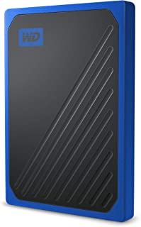 WD My Passport GO Portable SSD, 2TB, USB 3.0, speeds up to 400 MB/s, Built-in Cable, Cobalt Colored, 3Y
