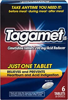 Tagamet Acid Reducer | Relieves and Prevents Heartburn and Acid Indigestion | 6 Tablets | 200 mg Cimetidine per Tablet