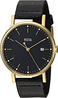 Vestal Sophisticate 36 Stainless Steel Swiss-Quartz Watch with Leather Strap, Black, 18 (Model: SP36L02.BK)