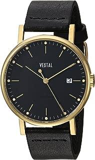 Vestal 'Sophisticate 36' Swiss Quartz Stainless Steel and Leather Dress Watch, Color Black (Model: SP36L02.BK)
