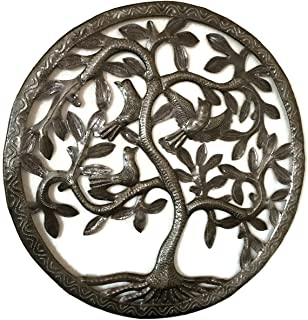 Tree of Life Wall Art, Nature Inspired, Handmade in Haiti, Steel Metal Decor, Indoor and Outdoor 17 x 17 Inches Fair Trade Federation Certified