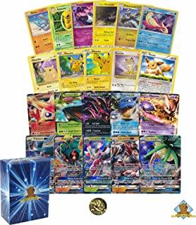 100 Count Pikachu, Eevee and Friends Lot! Featuring Pikachu! 1 GX and 1 EX Ultra Rare! Foils and Holos! Comes with Coin, Includes Golden Groundhog Deck Box.