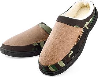 Dasein Men's Slippers Memory Foam Winter Warm Cozy Fleece Lining Slip On Comfortable Bedroom House Shoes Anti-Skid Camouflage