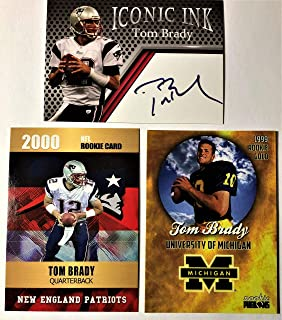 Tom Brady Football Card Lot - 2000 Rookie Phenoms - 1999 College Rookie Phenoms - Iconic Ink Fascimile Autograph - Tom Brady Investment Card Lot - New England Patriots