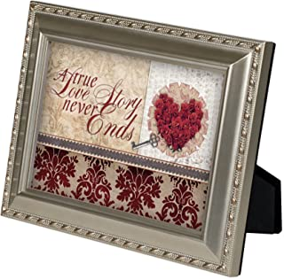 A True Love Story Never Ends Champagne Silver 5 x 7 inch Framed Art with Easel Back