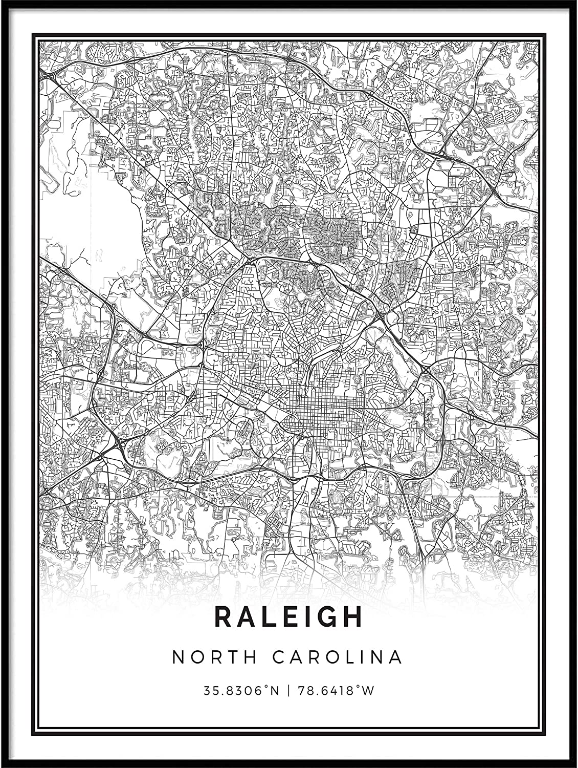 Squareious Raleigh map Poster Print White In a popularity Black Wal Modern safety and