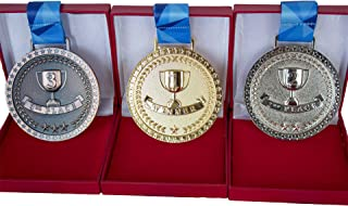 Promise of Quality Award Medals with Display Case, Olympic Style, Gold Silver Bronze (Set of 3), Premium Metal and Ribbon,...