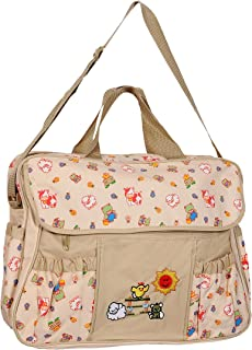 BabyGo Basic Multipurpose Mother Mama Bag Baby Diaper Carry Bag for Travel, Clothes,and Feeding (Beige)