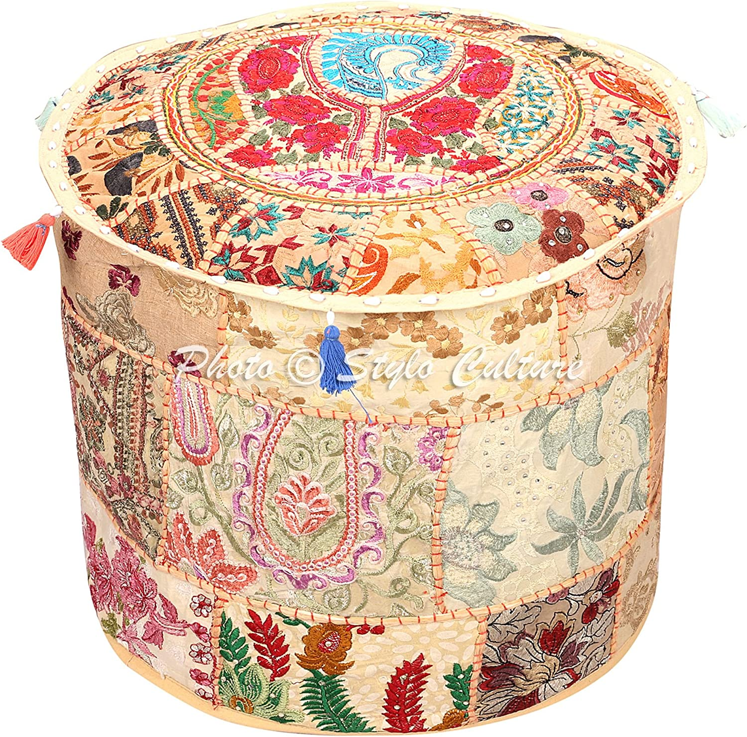 Stylo Culture Sale Limited time for free shipping item Indian Vintage Pouf Stool Ottoman Round Foot Cover