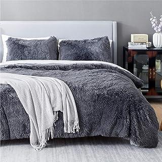 Bedsure Fluffy Comforter Cover Queen Size - Faux Fur Fuzzy Duvet Cover Set, Luxury Ultra Soft Plush Shaggy Duvet Cover 3 P...