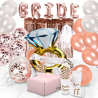 Bachelorette Party Decorations   Bridal Shower Supplies Kit - Bride To Be Sash, Cups, Straws, Veil, Banner, Balloons, Rose Gold Curtains & Decor Accessories