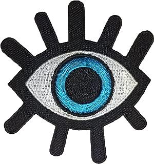 Eye Eyeball Tattoo Punk Rock Retro Applique Sew on Iron on Embroidered Patch - Blue (EYE-BLUE)