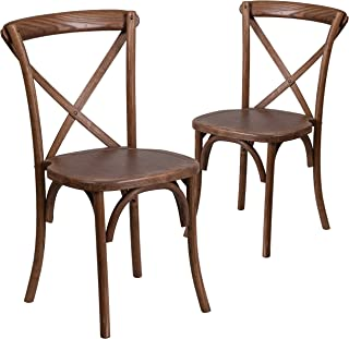 Flash Furniture 2 Pk. HERCULES Series Pecan Cross Back Chair
