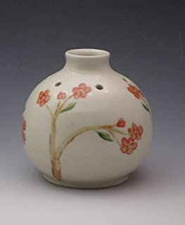 Handmade Porcelain Bud Vase, Essential Oil Reed Diffuser, Handpainted in Cherry Blossom Pattern