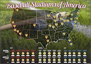 Baseball Stadiums of America Scratch Off Map | Lists National & Major League Teams | MLB Ballpark Wall Poster, Bucket List, Tracker of Visited Parks | Gift for Baseball Enthusiasts & Sport Fans