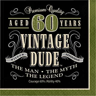 Vintage Dude 60th Birthday Napkins, 48 ct