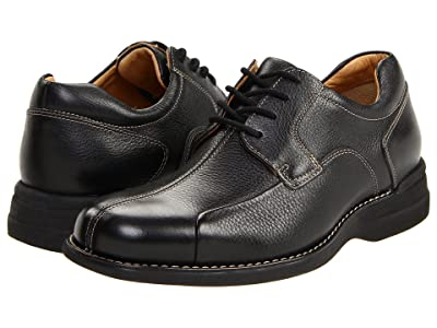 Johnston & Murphy Shuler Causal Dress Bike Toe Oxford (Black Tumbled Grain) Men