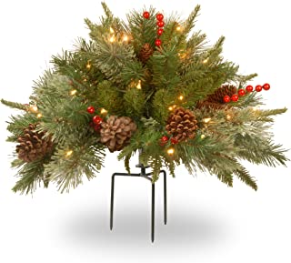 National Tree 18 Inch Feel Real Colonial Urn Filler with Cones, Red Berries, Tripod Stake and 35 Warm White Battery Operated LED Lights with Timer (PEC1-300-18U-B)
