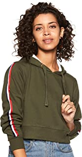 WOKNIT Full Sleeve Solid Women's Hooded Crop Olive Sweatshirt