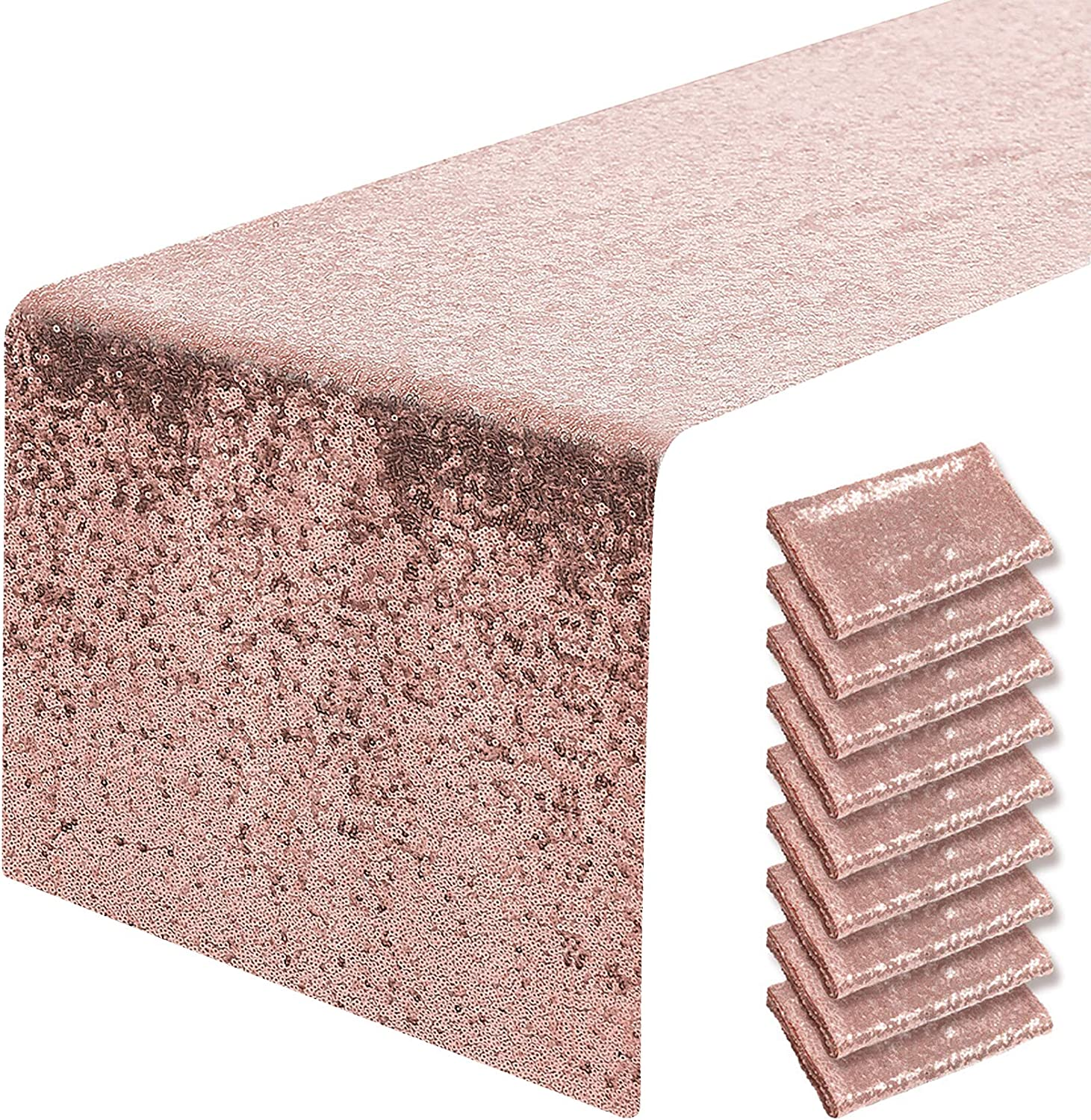 Pufogu 10 Packs Max 81% OFF 12 x 72 inches Table Sequin Gold Runner Rose Popular standard Gl