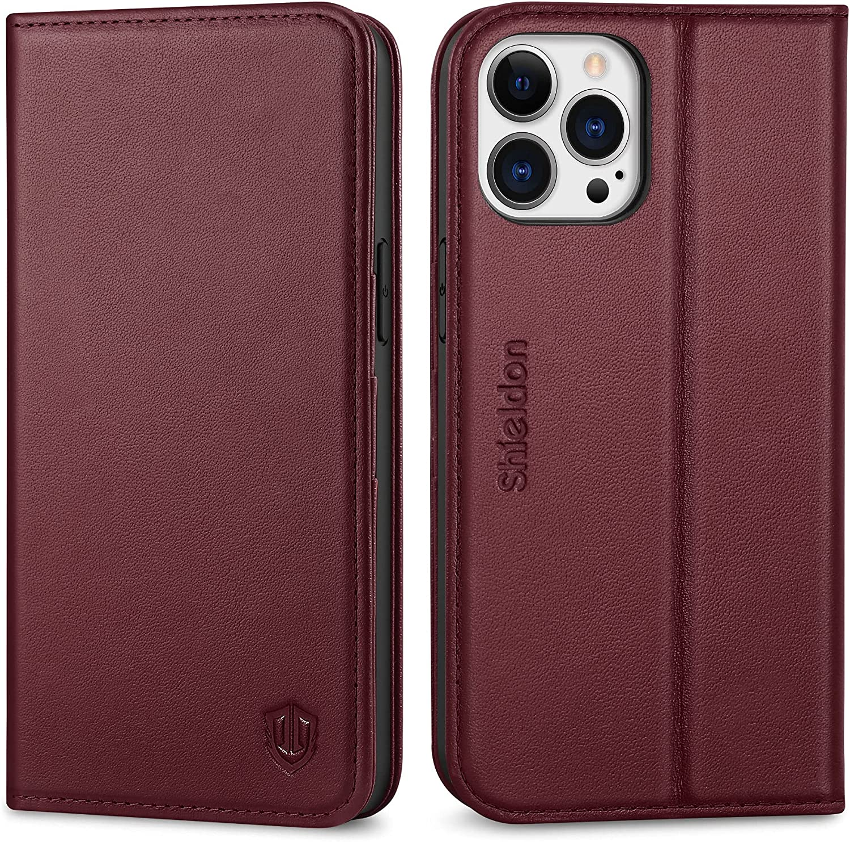 SHIELDON Funda Compatible con iPhone 13 Pro MAX, Funda Libro de Cuero Genuino, Cáscara de TPU, Bloqueo RFID, Soporte Plegable, Funda Tapa Libro para iPhone 13 Pro MAX 5G(6.7