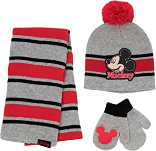 Mickey Mouse Boys' Toddler Scarf, Hat and Mitten Set, Grey/Red, Age 2-4