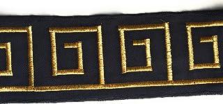Gold-Stickerei auf Marineblau – 9,9 cm breit, toller Gürtelbesatz, Hutbordüre, Millinery Trim Kleider