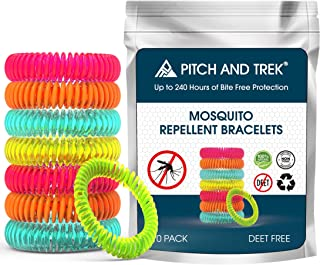 Pitch and Trek Mosquito Repellent Bracelet - 100% Natural Deet-Free, Non-Toxic, Waterproof - 10 Pack - Travel Anti Insect, Bug, Midges & Wasp Bands