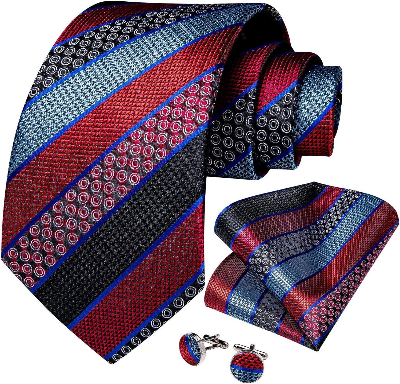 Neckties Set Width Men's Tie Set Silk Jacquard Paisley Business Wedding Party Neck Tie Pocket Square Necktie Gift For Men