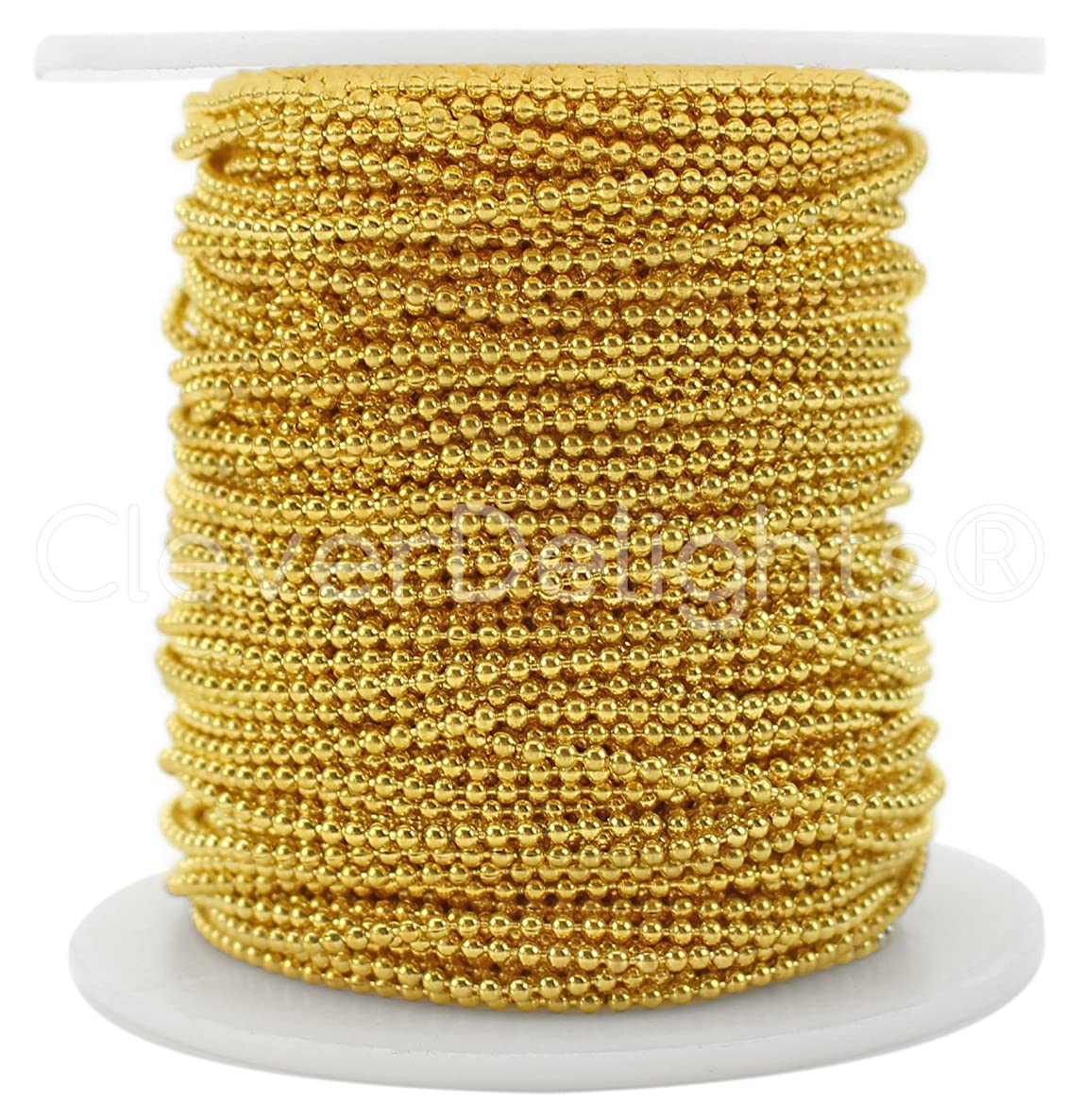 CleverDelights Ball Chain Spool - 100 Feet - 1.5mm Ball (Small) - Gold Color - Bulk Chain Roll