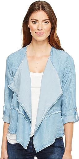 Tencel Chambray Roll-Up Sleeve Drapey Jacket
