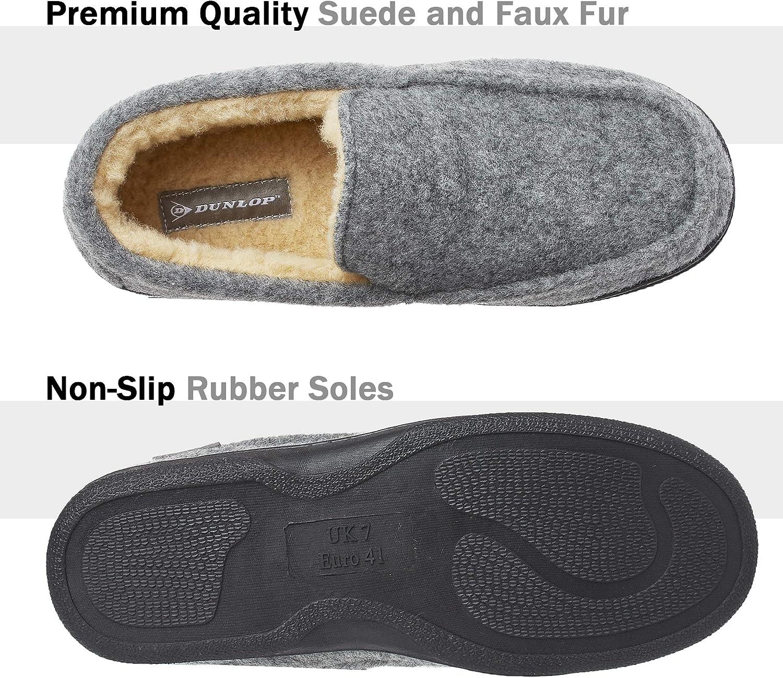Chaussons Charentaises Hommes M/émoire de Forme Int/érieur Ext/érieur Pantoufles Mocassins Loafers Hiver Dunlop Chausson Hommes Semelles Antid/érapantes