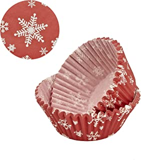 Sweet Creations 50 Count Christmas Holiday Baking Cup Cupcake Papers, White Snowflake