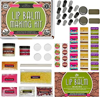 DELUXE Lip Balm Kit with Filling Tray, (73-Piece Set) For Making Your Very Own Clear & Colored DIY Lip Balms!   Includes Tubes, Bees Wax Pouch, 100% Pure Therapeutic Essential Oils & More
