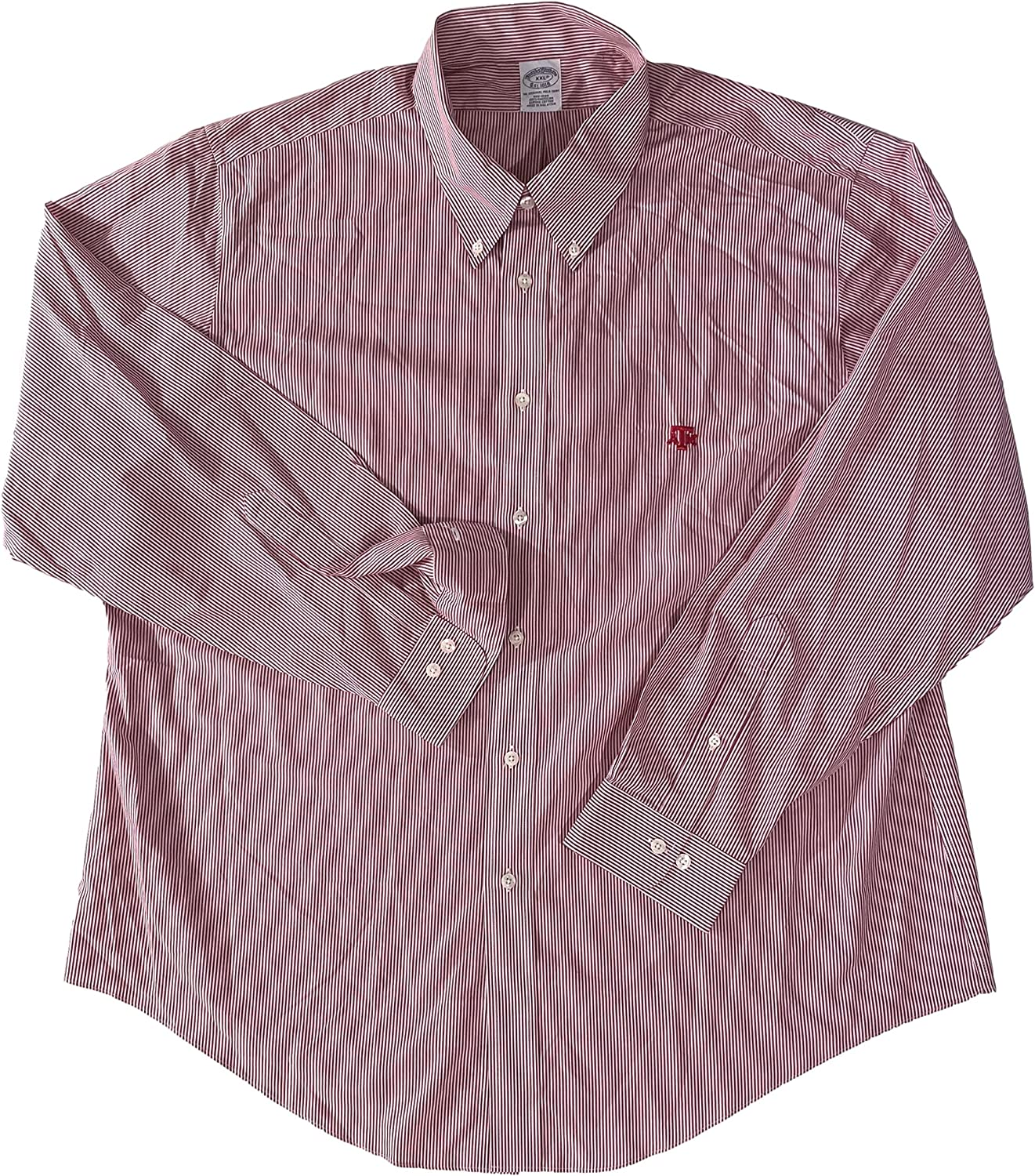 BROOK BROTHERS Men's Texas A&M Aggies Embroidered RED Striped L/S Button Down Shirt XXL